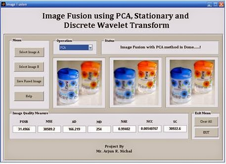 MATLAB code for Image Fusion using PCA, Stationary Wavelet