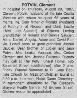 Obituary of Clement Potvin