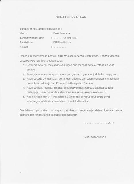 Contoh Surat Pernyataan Untuk Tenaga Magang