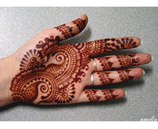 Brown Arabic Mehndi For Left Hand