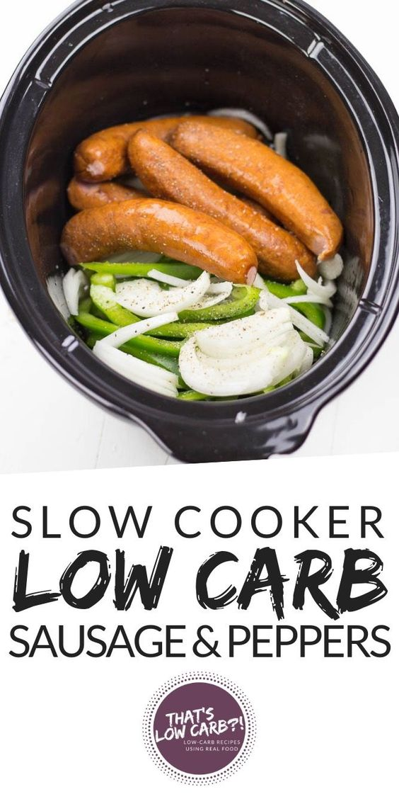 Keto Crockpot Sausage and Peppers #lunch #keto #crockpot #sausage #peppers