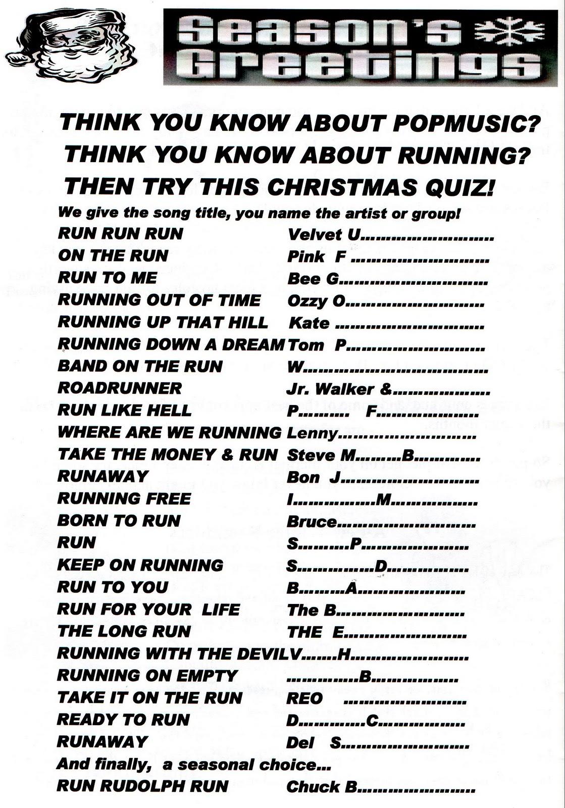 Running On Empty Run Music Quiz For Christmas