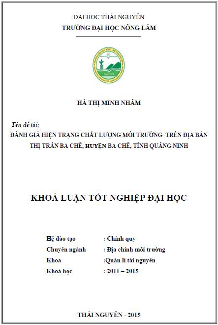 Đánh giá hiện trạng môi trường trên địa bàn thị trấn Ba Chẽ huyện Ba Chẽ tỉnh Quảng Ninh