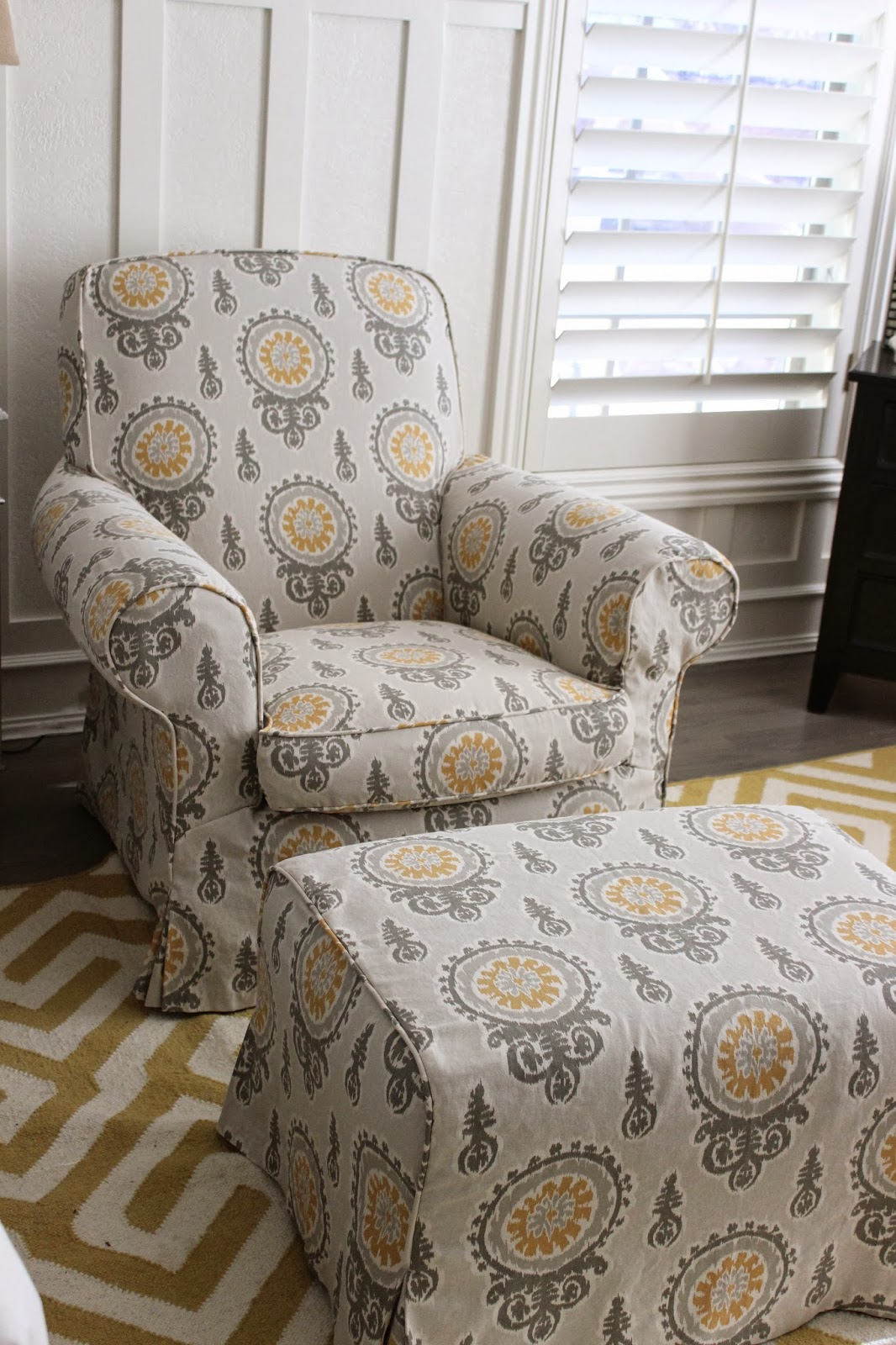 Bedroom Chair With Ottoman Dallas Cowboys Folding Chairs Custom Slipcovers By Shelley Gray Yellow