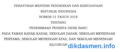 Permendikbud No 51 Tahun 2018