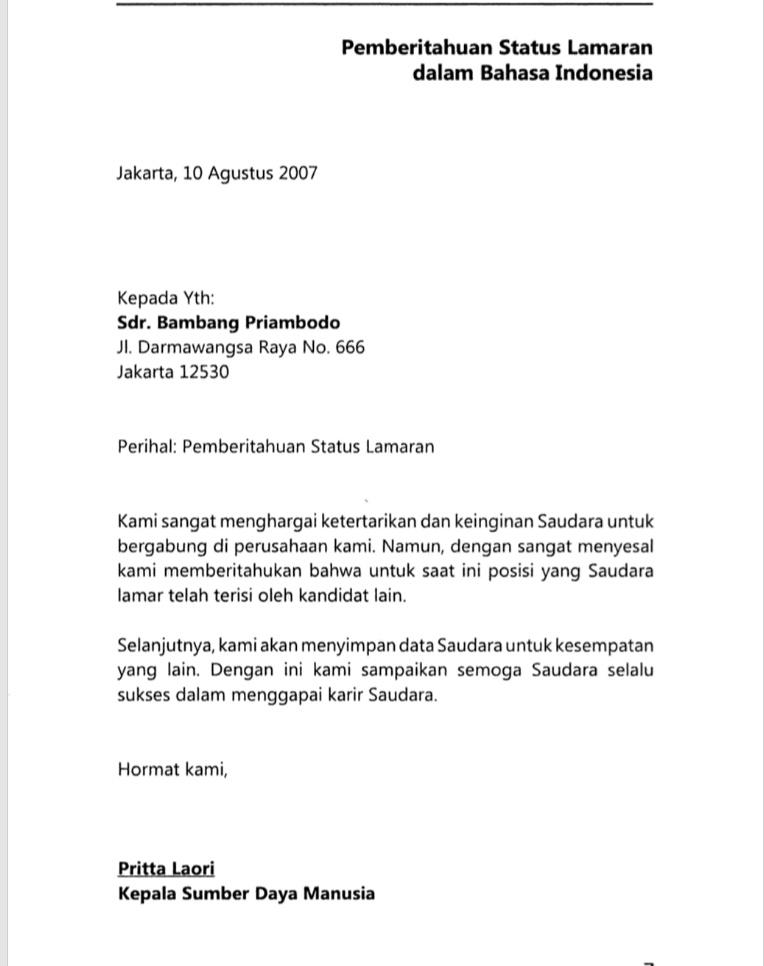 Contoh Contoh Surat Terkait Perusahaan Suka Bahasa Indonesia