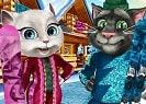 Tom y Angela están disfrutando de unas merecidas vacaciones de invierno y están muy emocionados. Los dos gatitos son grandes amantes de los deportes de invierno. Comienza eligiendo algunos peinados o sombreros para resguardarse del frío y continúa con la ropa, revisa todos los artículos de ropa que tiene y elige lo que más le guste, termina eligiendo algunos artículos de deportes de invierno.