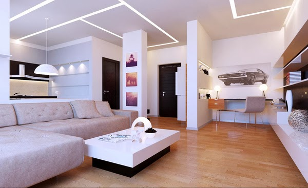 D coration salon moderne et minimaliste d coration salon - Interior hair salon lighting ideas ...