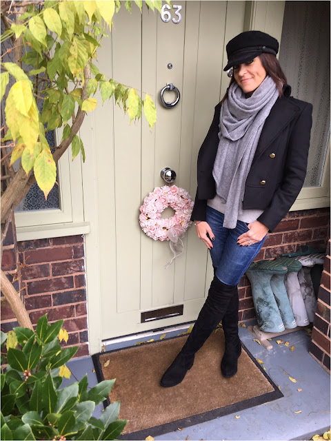 My Midlife Fashion, Military, Schuh Dash Over the knee boots, skinny denim jeans, cashmere scarf, marks and spencer cashmere jumper, military, hm military cap