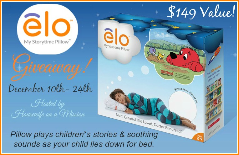 Enter the elo My Storytime Pillow Giveaway. Ends 12/24