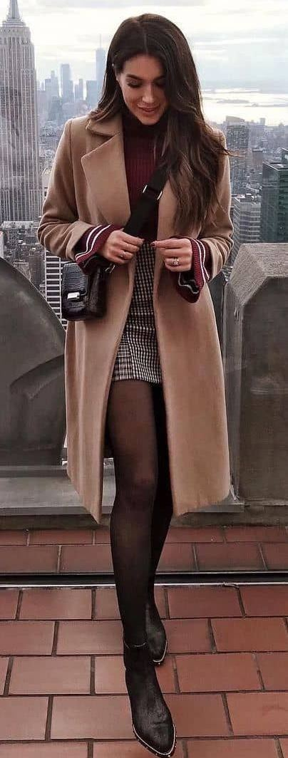 fashionable winter outfit / brown coat + skirt + sweater + bag + boots
