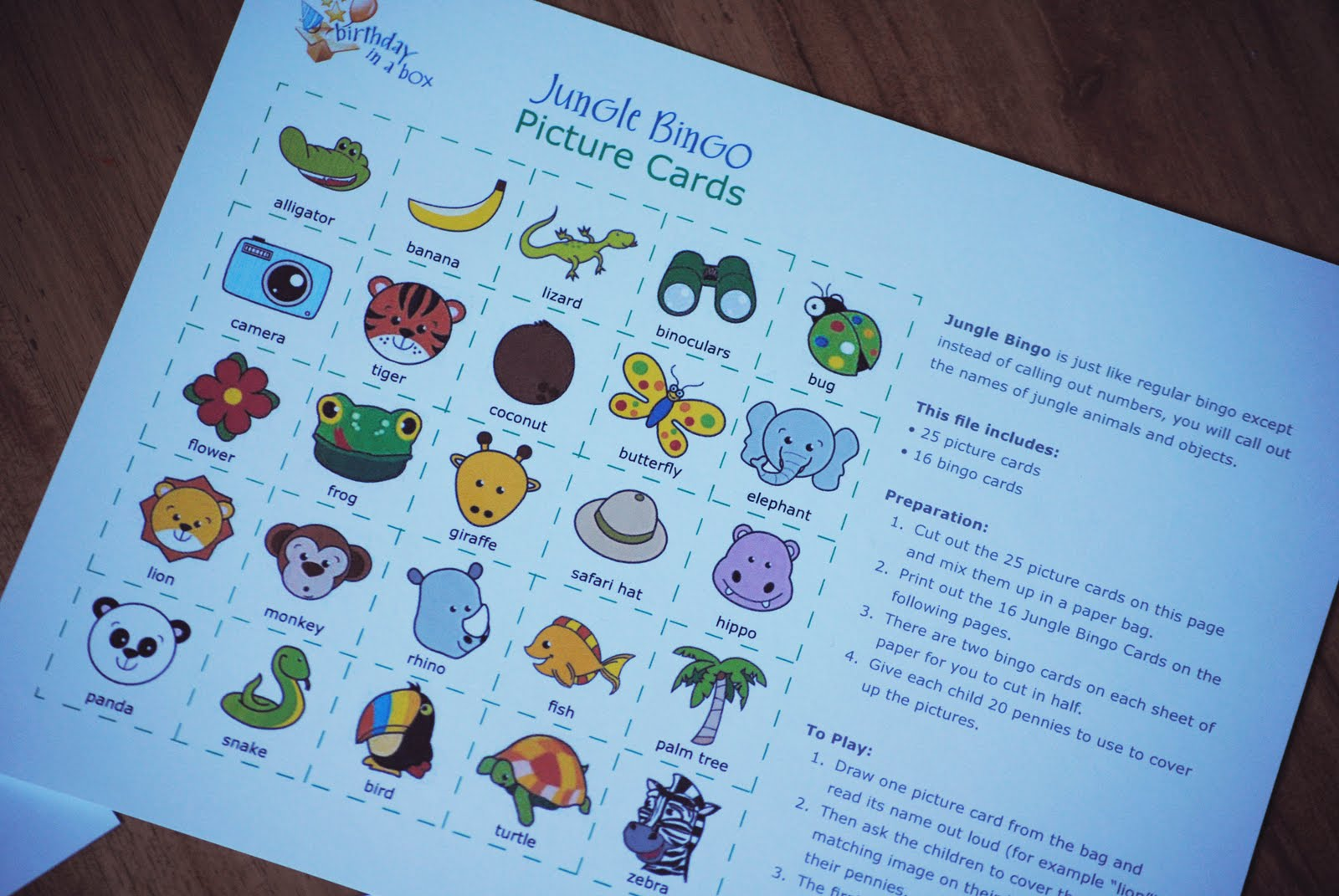 Bingo Cards Jungle Animal Picture Calling Pictures