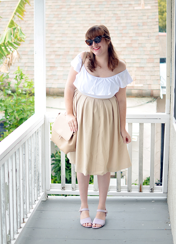 Unique Vintage off shoulder white top paired with neutrals from Ruche and Modcloth