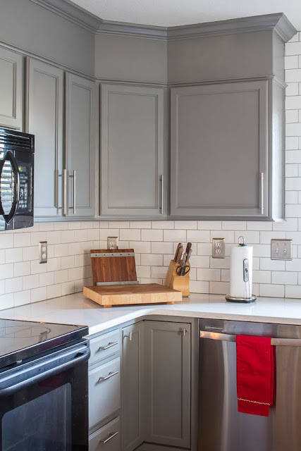 gray cabinets white subway