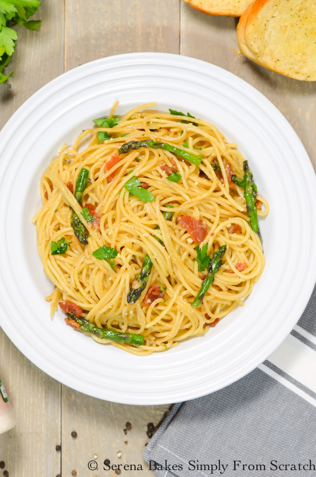 Bacon Asparagus Pasta is a favorite recipe that is an easy to make meal in under 25 minutes