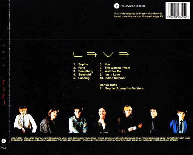 LAVA - Fire [digitally remastered +1 / First Time on CD] (2015) back