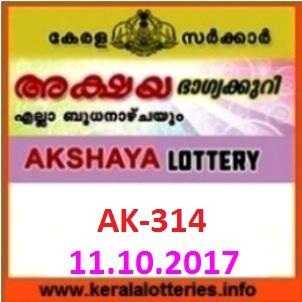 AKSHAYA (AK-314) lottery result on October 11, 2017
