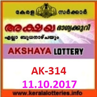 AKSHAYA (AK-314) lottery result on October 11, 2017