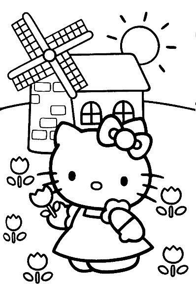 Tranh tô màu mèo hello kitty đi hái hoa