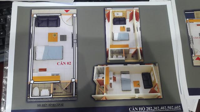 Mặt bằng căn hộ trục số 2 chung cư mini Vĩnh Phúc