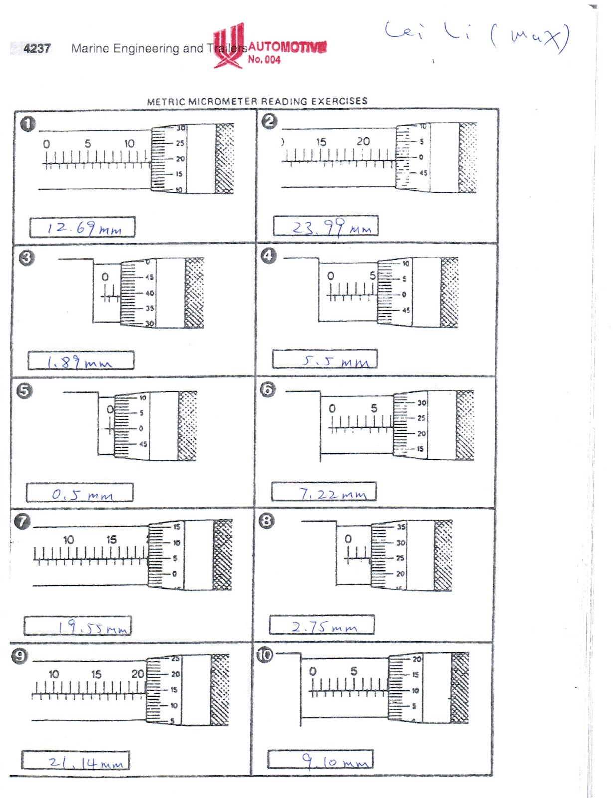 Download Micrometer Reading Practice Worksheets