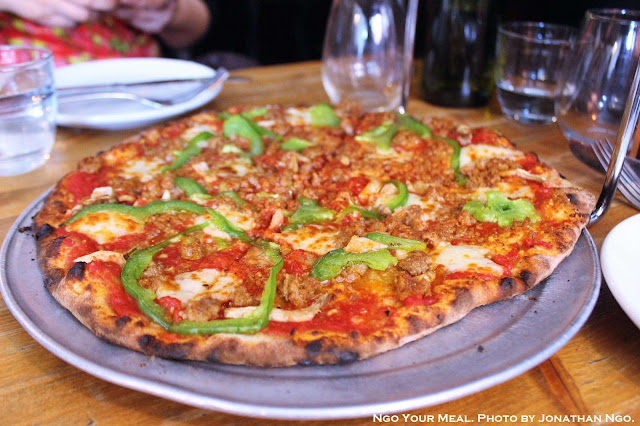 Camp Randal Pizza (Red Sauce, Sausage, Mushrooms, Peppers, Cheddar Curds) at Emily in Brooklyn, New York City