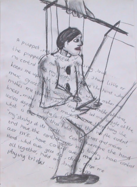 drawing of a puppet by Corina Duyn, with text: Who is pulling the strings of M.E.
