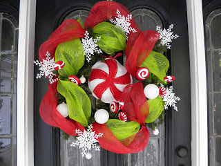 felt peppermint Christmas wreath