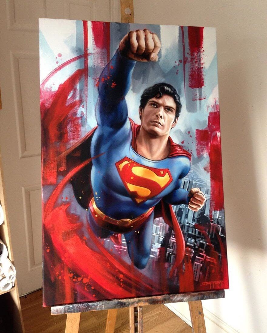 15-Superman-DC-Christopher-Reeve-Ben-Jeffery-Superhero-and-Villain-Movie-Paintings-www-designstack-co