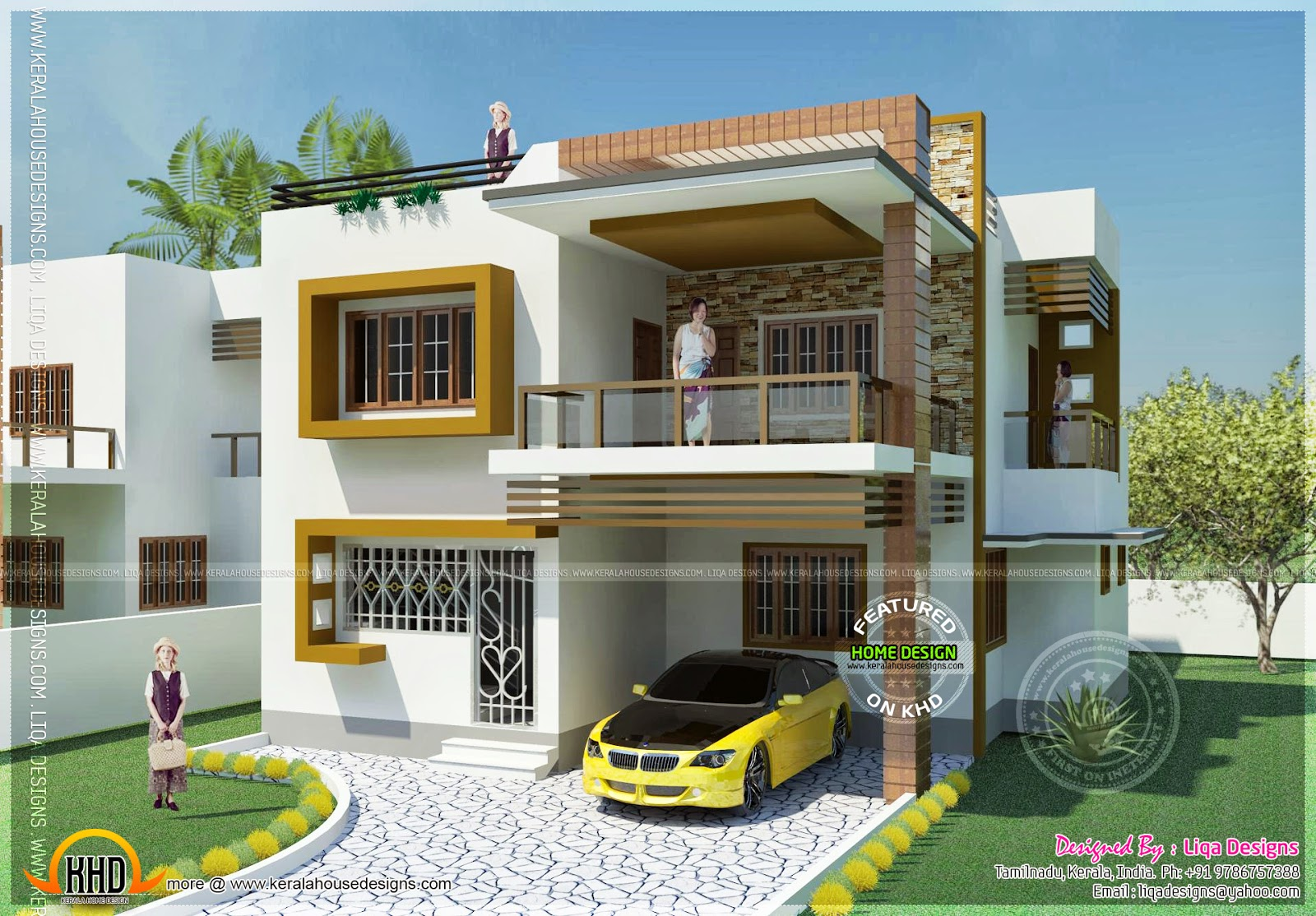 Double storied tamilnadu house design kerala home design for Indian home front design