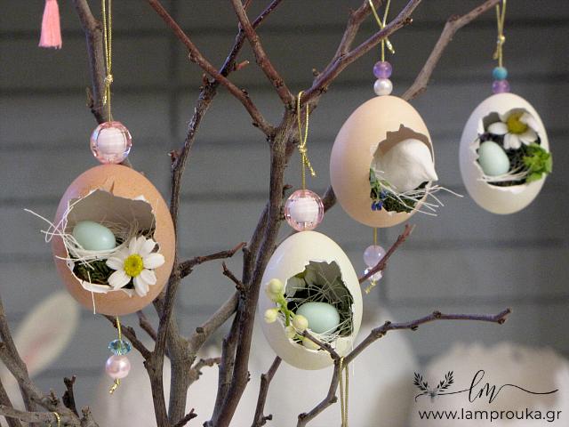 αληθινά αυγά που μετατράπηκαν σε φωλιές για την πασχαλινή διακόσμηση