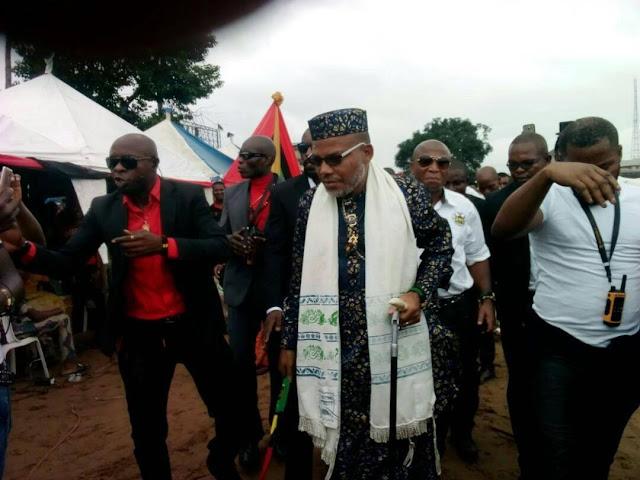 [PHOTOS] Nnamdi Kanu Storms Aba, Preaches Biafra Restoration