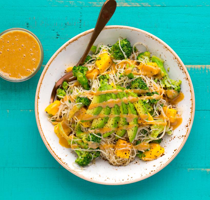 Peanut-Broccoli Rice Noodle Bowl with Avocado and Mango