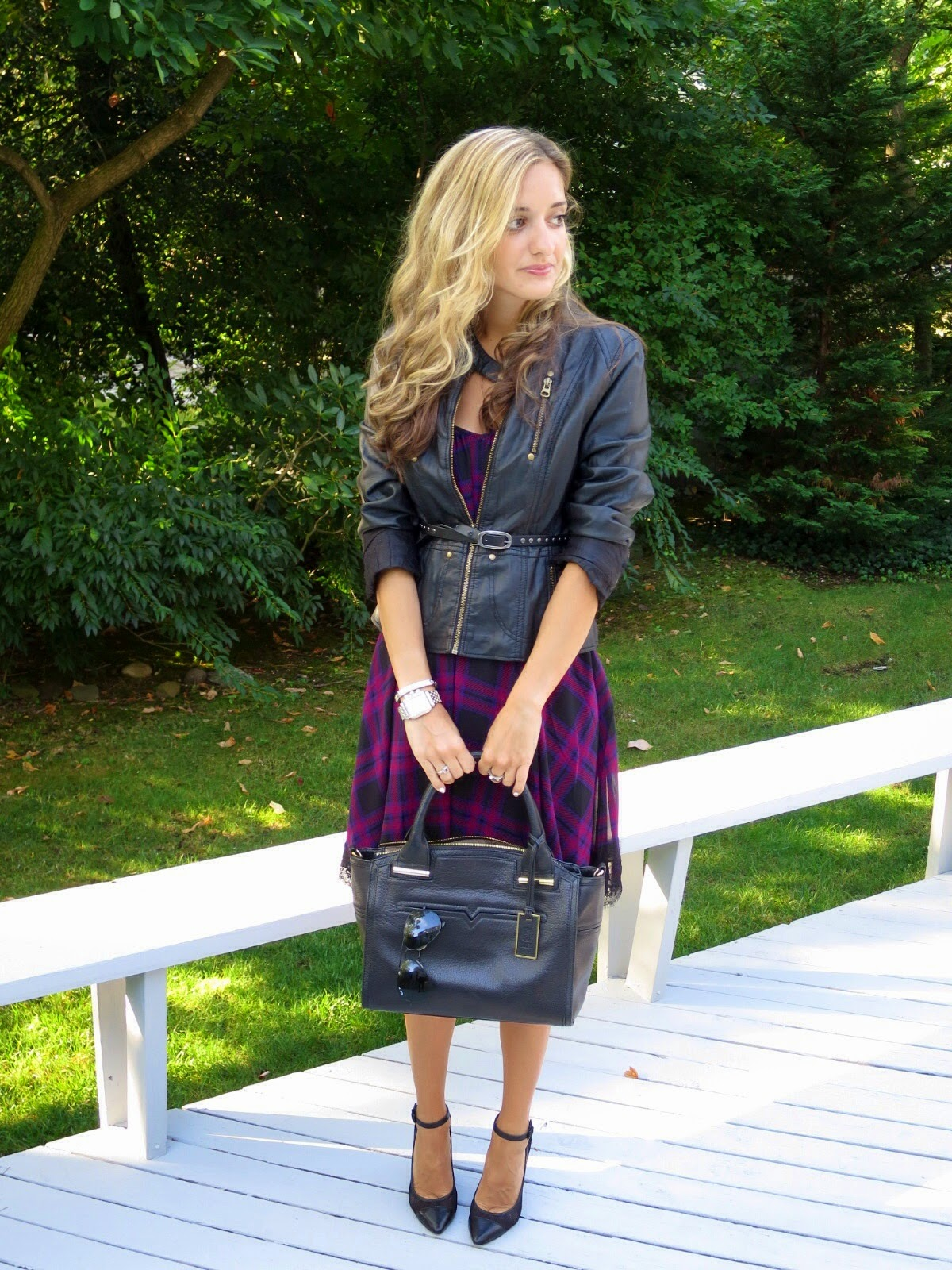 plaid & leather fall outfit