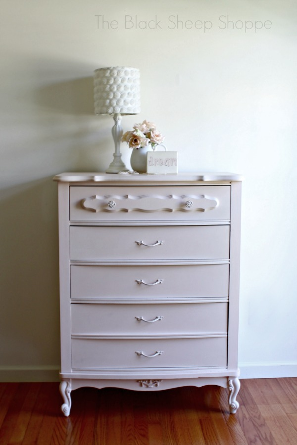 This chest of drawers is pretty painted in pink.