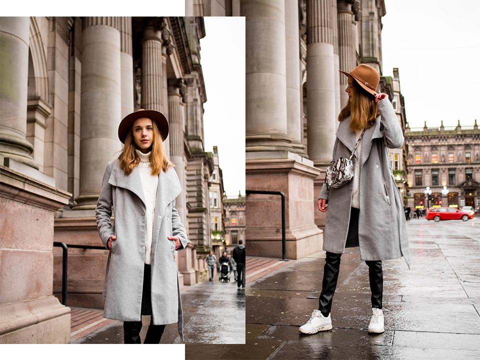 Minimal and timeless outfit with faux leather leggings, white cable knit and grey wool coat - Klassinen ja ajaton asu: tekonahkaleggingsit, valkoinen palmikkoneule ja harmaa villakangastakki