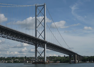 View of the Forth Road Bridge from the Firth of Forth, South Queensferry, Scotland