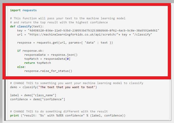 Copiamos estas líneas de código en Python.