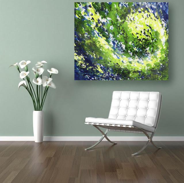 green and blue home decor interior