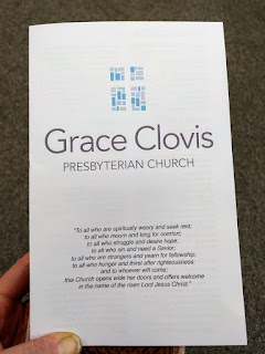 bulletin for Grace Clovis Presbyterian Church, Clovis, California