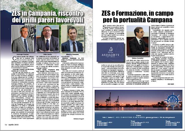 APRILE 2018 PAG. 16 - ZES in Campania, riscontro dei primi pareri favorevoli