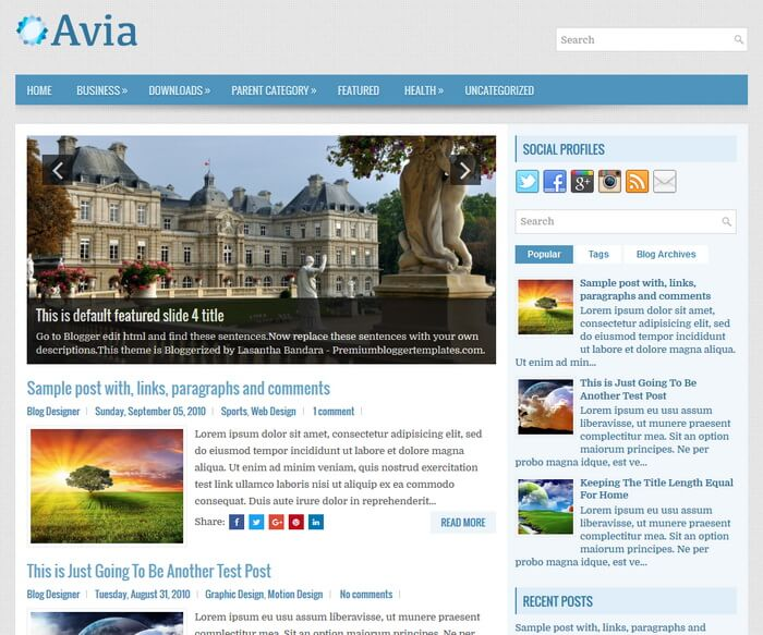 Free Download Avia Blogger Template