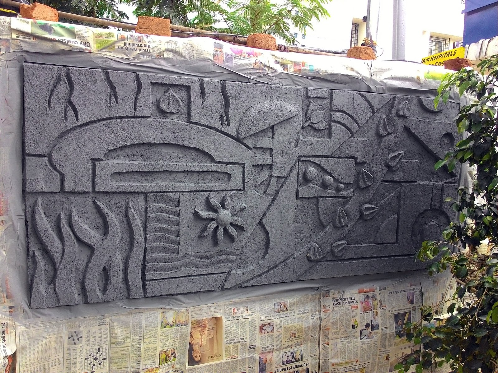 Cement Murals For Compound Wall