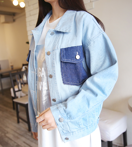 Contrast-Colored Pockets Denim Jacket