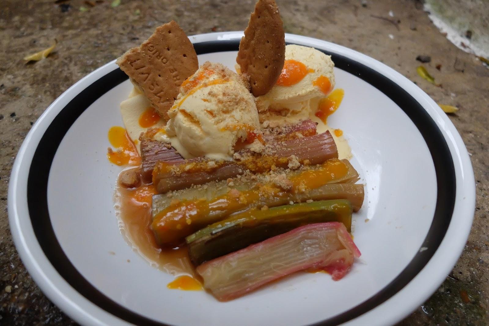 Baked Rhubarb, Ice Cream and Mango Chilli Sauce  recipe
