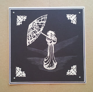 Black and white embossed geisha card