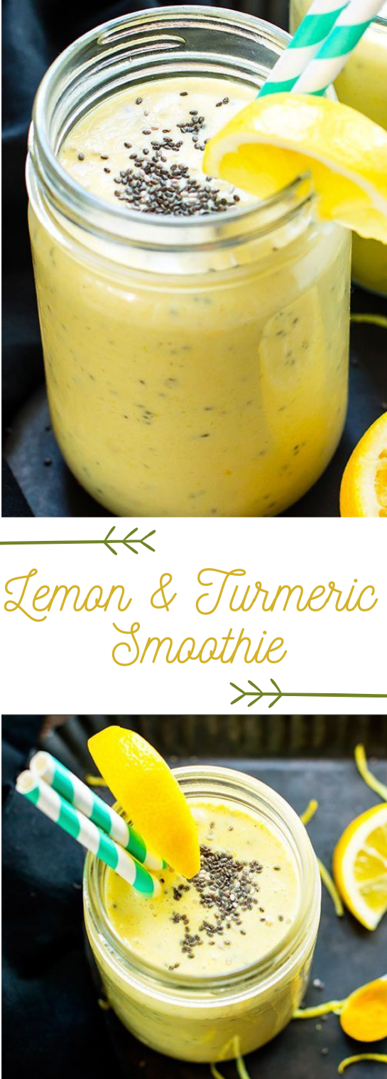 LEMON TURMERIC SMOOTHIE WITH CHIA SEEDS #lemon #drink