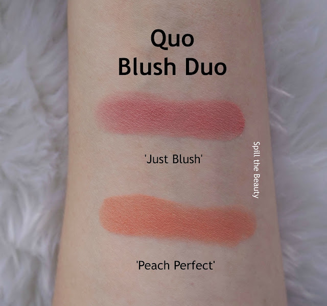 quo 2017 makeup review swatches quo blush duo peach perfect just blush