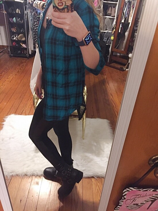 teal plaid outfit of the day