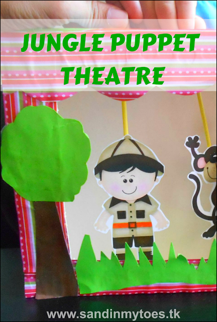 Fun jungle-themed puppet theatre made with a cereal box, with a link to download these cute puppets!